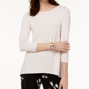 New Alfani Woven Back Tunic Shirt Top Light Pink